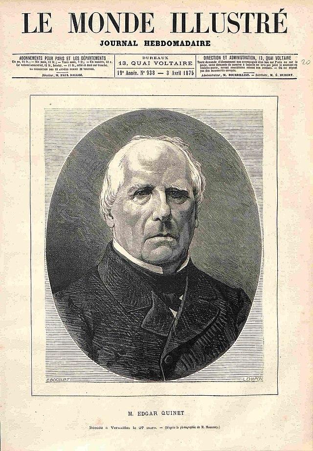Edgar Quinet, portret publicat în Le Monde Illustré din 3 aprilie 1875. | Foto: Léon-Louis Chapon. | Sursa: wikipedia.org