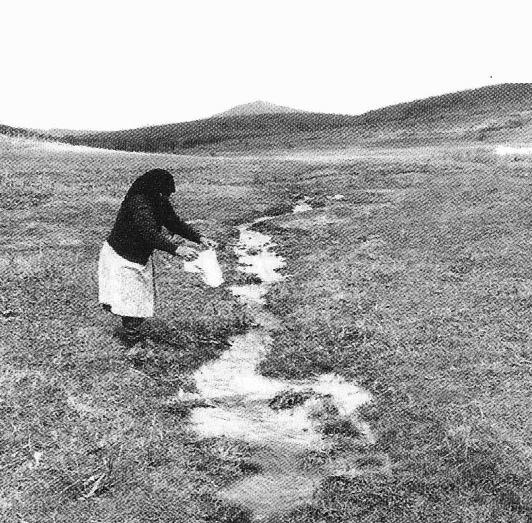 Coji de ouă roşii puse pe Apa Sâmbetei pentru a vesti moşii de dincolo că a sosit Paştele AIEF, Colecţia Dobrocult (Alba, Izvoarele, județul Tulcea, 1996) | Sursa: Dicționar de mitologie română, Ion Ghinea
