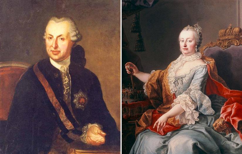 Stânga: Samuel von Brukenthal   Dreapta: Împărăteasa Maria Terezia a Austriei, pictură de Martin van Meytens, din 1759