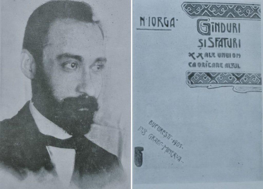 Nicolae Iorga, prin 1900; dreapta: Coperta primei ediții a volumului Cugetări