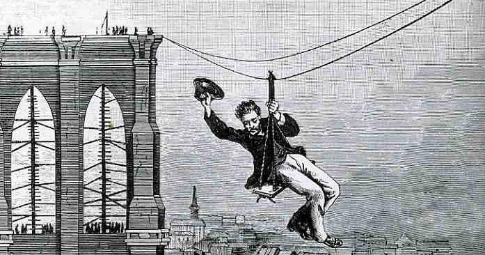 E.F. Farrington, omul care a traversat prima dată podul Brooklyn.. folosind ceea ce numim azi tiroliana   Sursa: Ephemeral New York