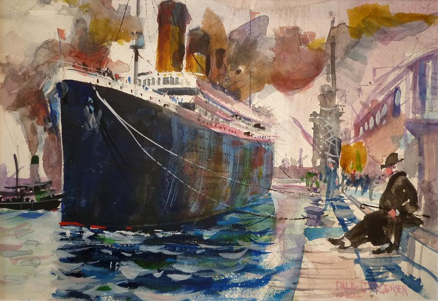 Titanic a inspirat nu numai zeci de articole, reportaje și documentare de presă, legende, povești, filme. O acuarelă contemporană de Dale Jorgensen, cu nava înainte de plecare din Southampton, Anglia | Sursa: Fine Art America