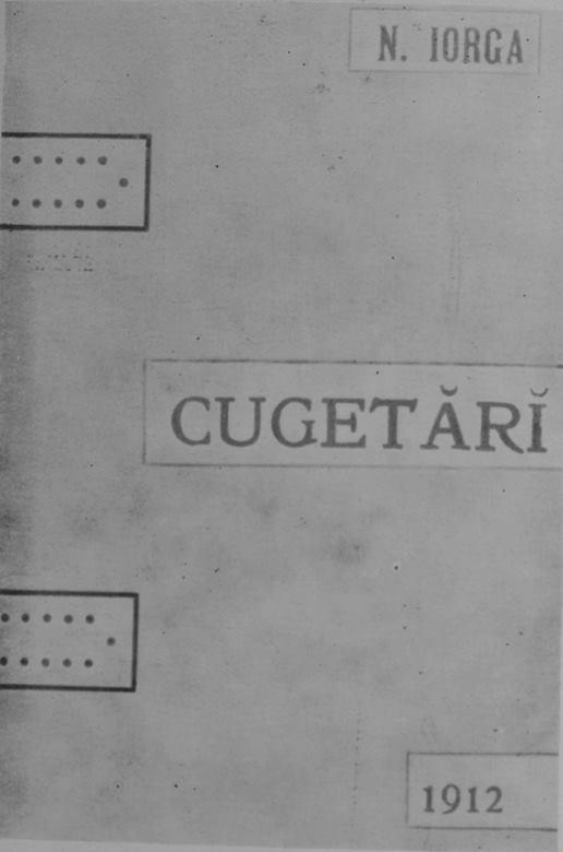 Coperta ediției a doua, Cugetări din 1911 (data care apare pe foaia de titlu)