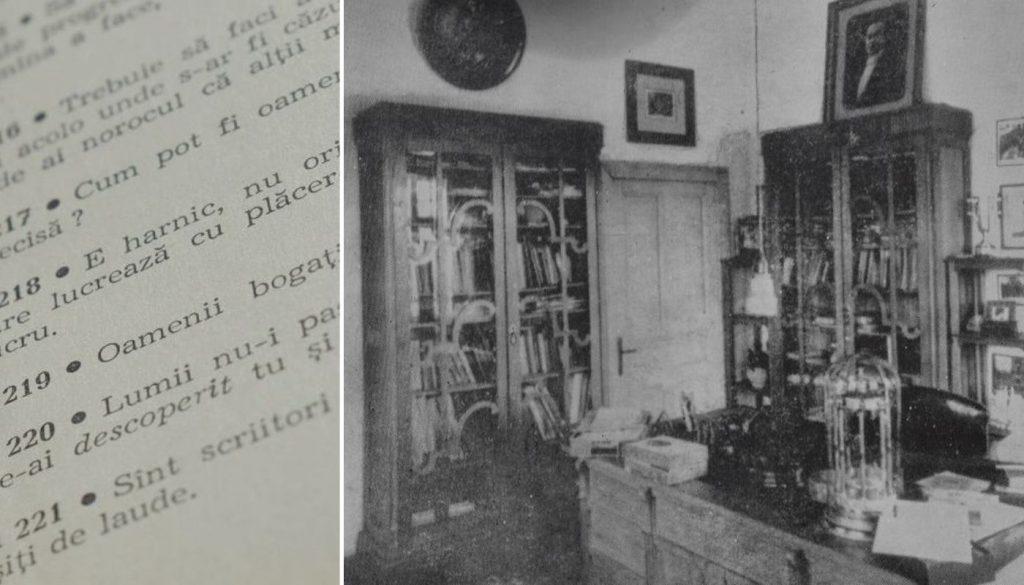 Din volumul Cugetări, 1972 (dreapta, biroul lui Nicolae Iorga din locuința de la Vălenii de Munte)