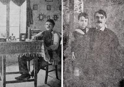 Stânga: Tudor Arghezi la 18 ani; Dreapta: Tudor Arghezi și primul lui copil, Baruțu, în Elveția