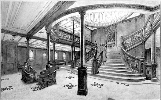 O schiță actuală a scării impresionante de pe Titanic. Nu s-au găsit poze cu această scară de pe Titanic | Sursa: Public domain, Wikiwand