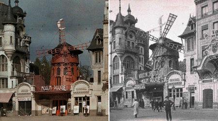 Cu Moulin Rouge, clădirea originală, s-a păstrat o fotografie datată în 1 ianuarie 1914. A fost făcută de un bancher francez, Albert Kahn. În dreapta este imaginea de pe o carte poștată, cu Moulin Rouge în 1900.