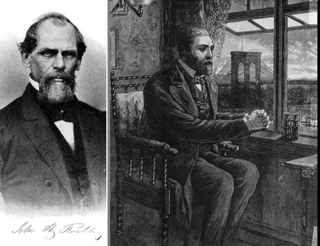 John Augustus Roebling, stânga; Washington Roebling, cu podul în fundal, privind lucrările de la fereastra apartamentului
