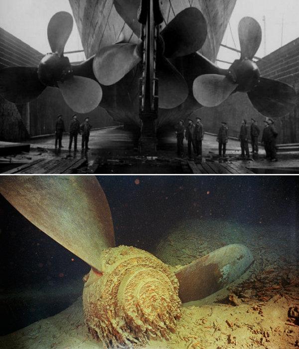 Elicele Titanicului. Sus: prima imagine, când nava a fost la finalul construirii, ne dă o idee clară cât de masive erau. Imaginea de jos: O elice a Titanicului găsită în 1985, atunci când a fost descoperită și epava pe fundul oceanului Atlantic.