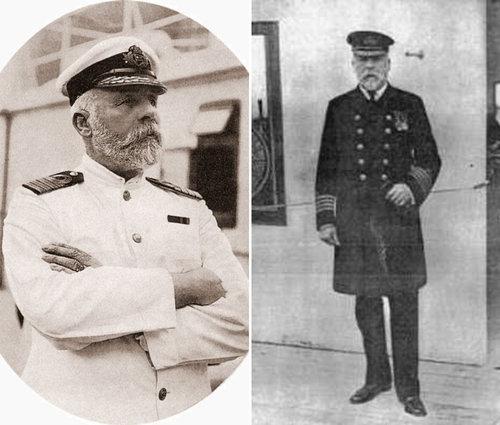 Edward J. Smith, căpitanul de pe vasul Titanic, celebru atunci pentru numeroasele probleme cu care s-a confruntat mereu în timpul călătoriilor lui cu diferite nave. | Sursa imaginii din stânga: Public domain, Wikiwand; Sursa imaginii din dreapta: Encyclopedia-titanica.org, cu explicația: Căpitanul Smith, pozat de un fotograf de la un ziar, în Southampton, aprilie 1912