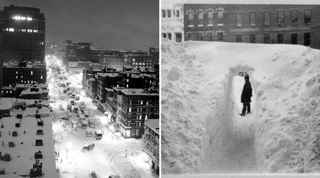 Stânga: O imagine surprinsă de fotograful american Andreas Feininger, în decembrie 1947, în New York, cu mașini abandonate, pentru câteva ore, exact în mijlocul bulevardului. | Sursa: Time ; Dreapta: Căderea masivă de zăpadă tot în New York, în anul 1888