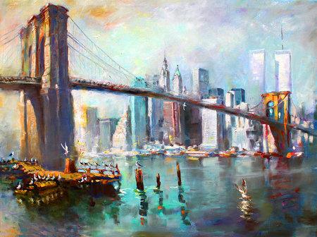 Podul Brooklyn, pictură de Ylli Haruni