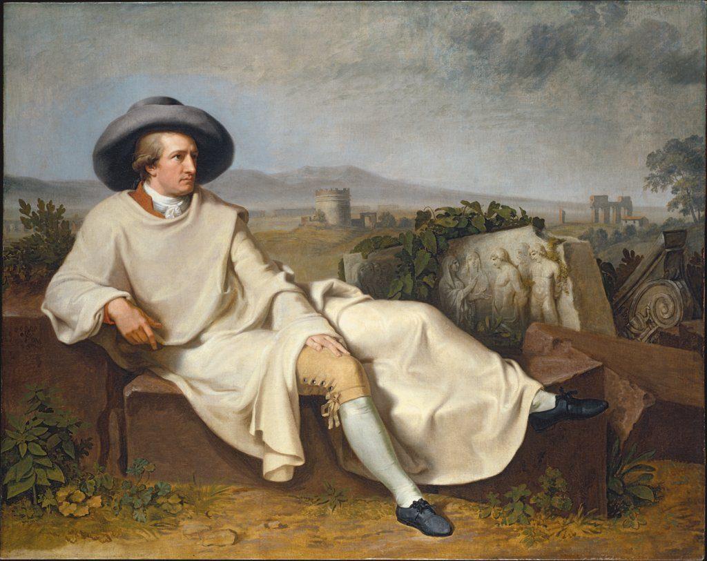 Johann Wolfgang von Goethe [1749 – 1832] la Roma; pictură de Johann Heinrich Wilhelm Tischbein, 1787; Sursa: Städel Museum