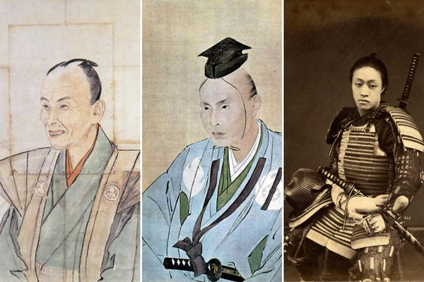 De la stânga: Portretul neobișnuit al unui samurai care zâmbește, deoarece, se spunea, un samurai zâmbea de trei ori în viață: când se năștea, când se căsătorea, când i se năștea primul fiu. | Portretul samuraiului Takami Senseki. Ambele portrete au fost realizate în 1837 de Watanabe Kazan; Sursa: Frog in the Well: Portraits of Japan by Watanabe Kazan, 1793 – 1841|