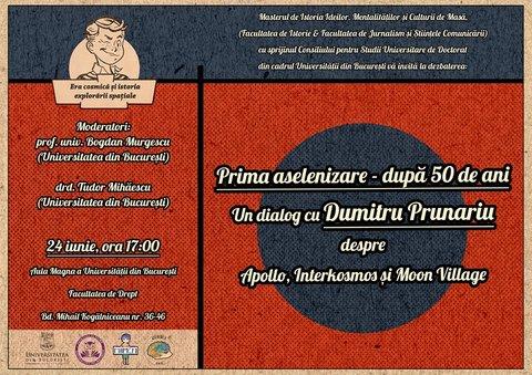 """""""Prima aselenizare – după 50 de ani. Un dialog cu Dumitru Prunariu despre Apollo, Interkosmos și Moon Village"""". Sursa: unibuc.ro"""