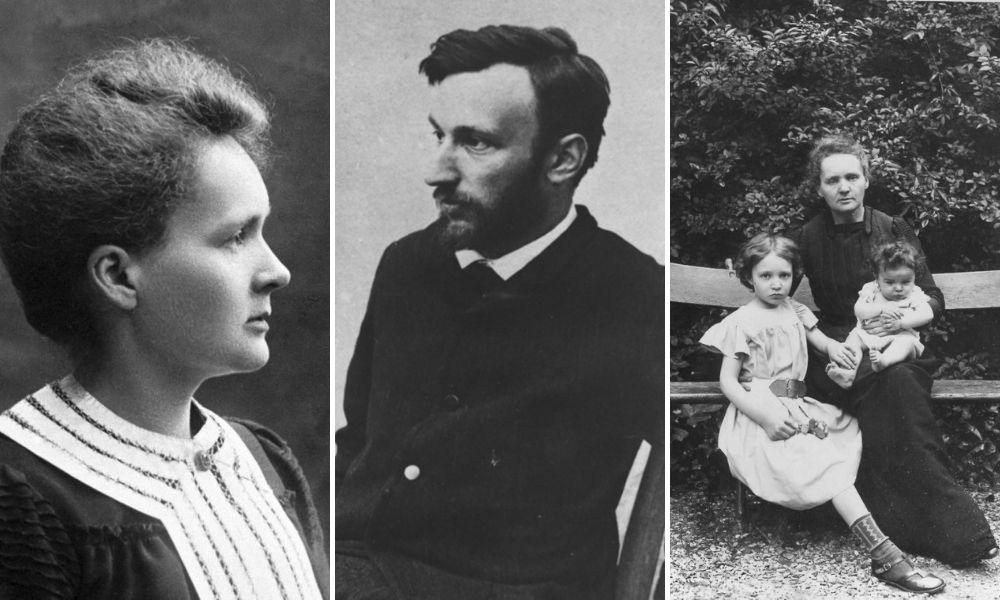 De la stânga: Marie Curie; Sursa: Nobel Prize | Pierre Curie, circa 1880; Curie Museum, Sursa: Neurosurgical Focus | Marie Curie cu fiicele ei, Irène și Ève, în grădina casei lor, 1905; Sursa: Nobel Prize