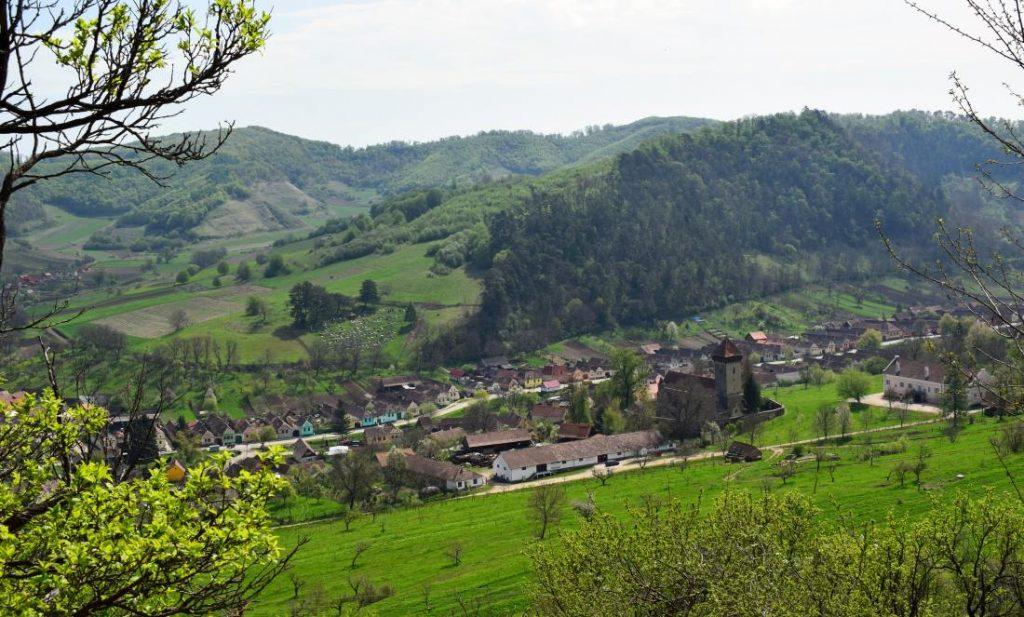 Panoramă din livadă cu satul Mălâncrav | Credit foto: Mira Kaliani