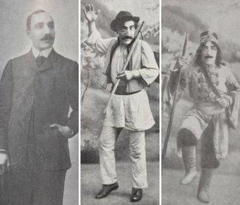 Stânga: Constantin Tănase, după ce a absolvit Conservatorul; imagini mijloc și dreapta: În diferite roluri
