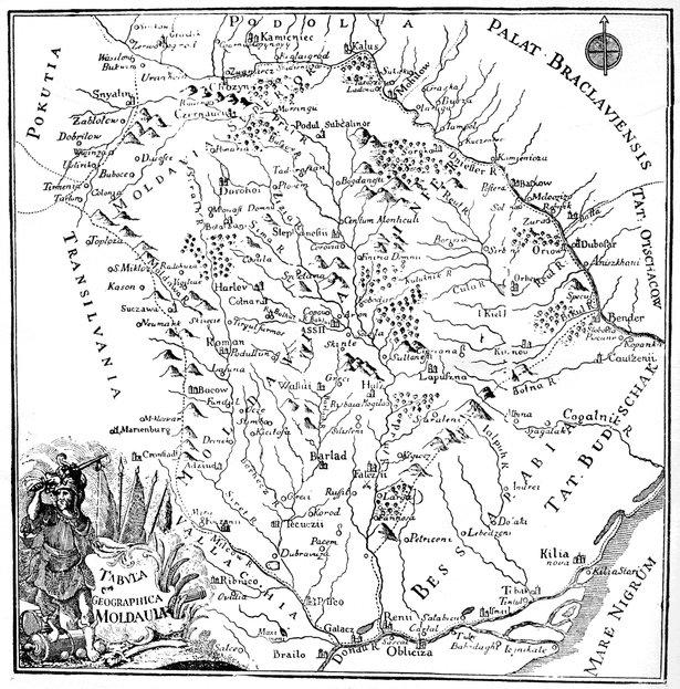 Hartă apărută în ediţia germană, 1769 - 1770. Nu este harta originală realizată de Dimitrie Cantemir, dar probabil că a fost inspirată de aceasta | Sursa: Wikisource