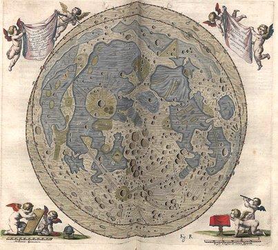 Harta Lunii făcută de Hevelius și publicată în 1647 în lucrarea Selenographia