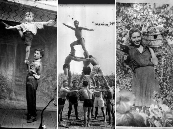 Acrobați, la circ; Piramida sportivă, 1935; La cules struguri | Fotografii: Costică Acsinte
