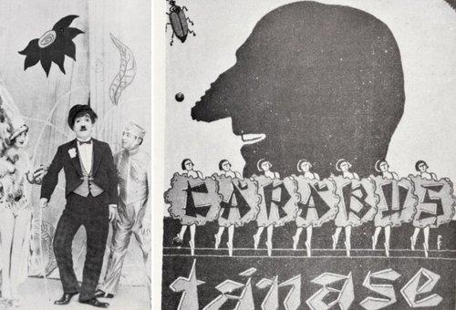 În rolul lui Charlot, alături de Lizica Petrescu și Ladislau Groff | Copertă de program la Cărăbuș, 1927