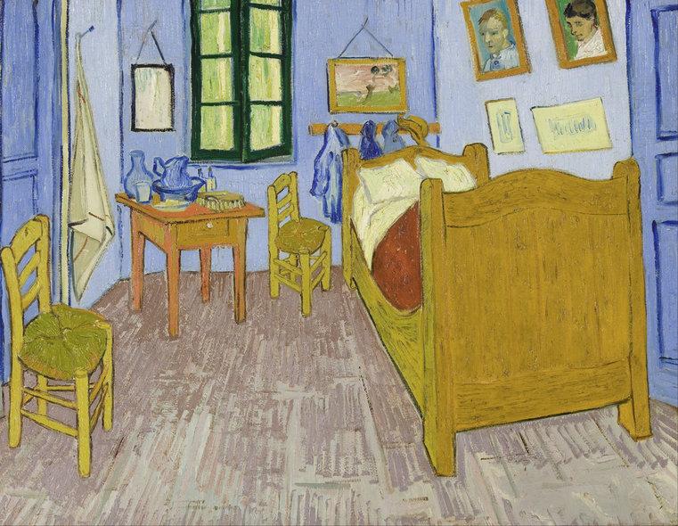 Camera lui Vincent din Casa Galbenă, Arles, Franța; Artist: Vincent van Gogh   Sursa: Wikimedia Commons