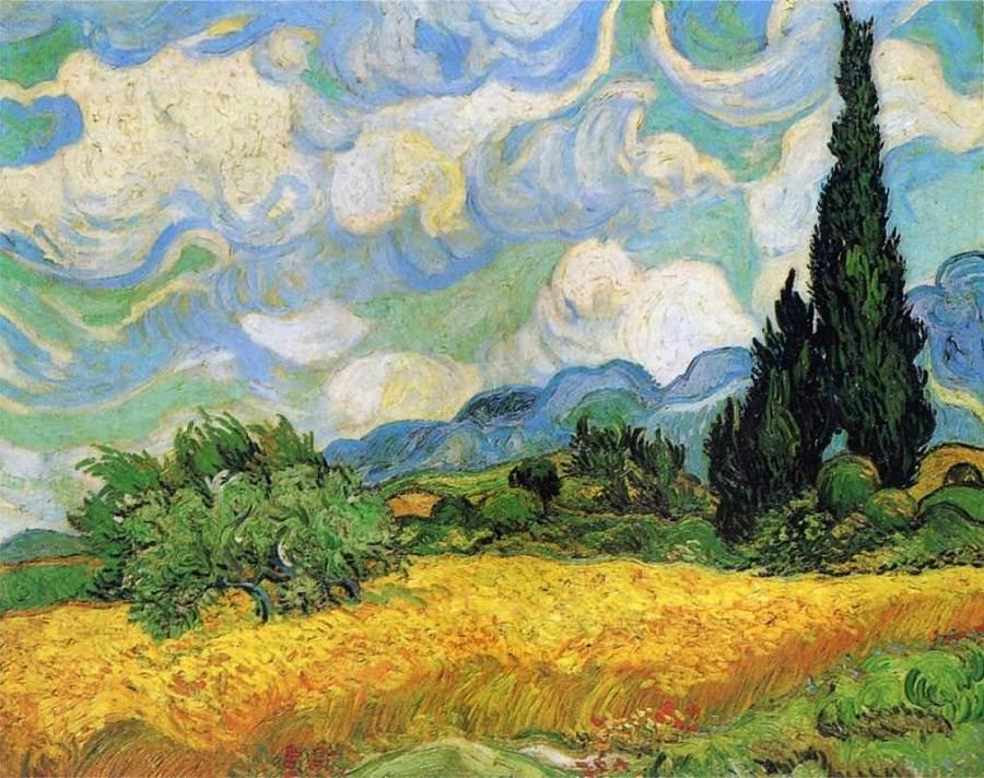 Lan de grâu cu chiparoși, Vincent van Gogh, 1889   Sursa: VincentvanGogh.org