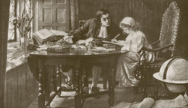 O ilustrație cu Jonathan Swift ca preceptor al tinerei Esther Johnson, Stella | Sursa: timetoast