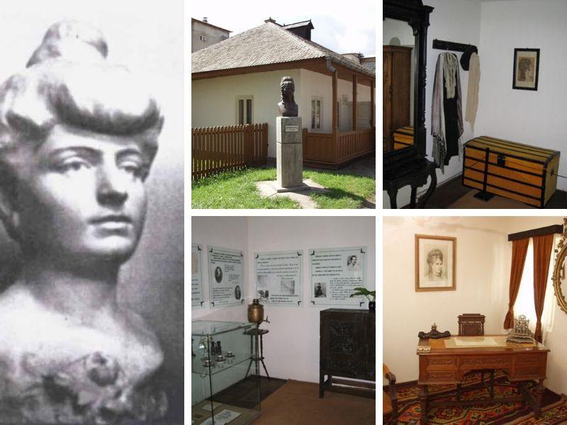 Stânga: Veronica Micle, sculptură de Dimitrie Paciurea; Patru imagini de la Casa memorială Veronica Micle din Târgu Neamț | Sursa: Institutul Naţional al Patrimoniului, Direcția Patrimoniu Mobil, Imaterial și Digital