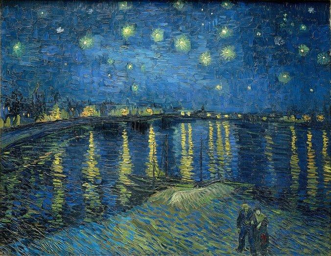 Noapte înstelată pe Ron, Vincent van Gogh, 1888   Sursa: VincentvanGogh.org