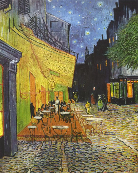 Terasa cafenelei, noaptea; Vincent van Gogh, 1888   Sursa: Wikipedia, Domeniu public