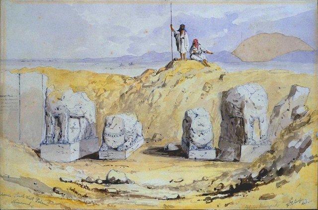 Intrarea din sud-vest în palatul de la Ninive, în timpul săpăturilor făcute de Austen Henry Layard | Sursa: Wikipedia