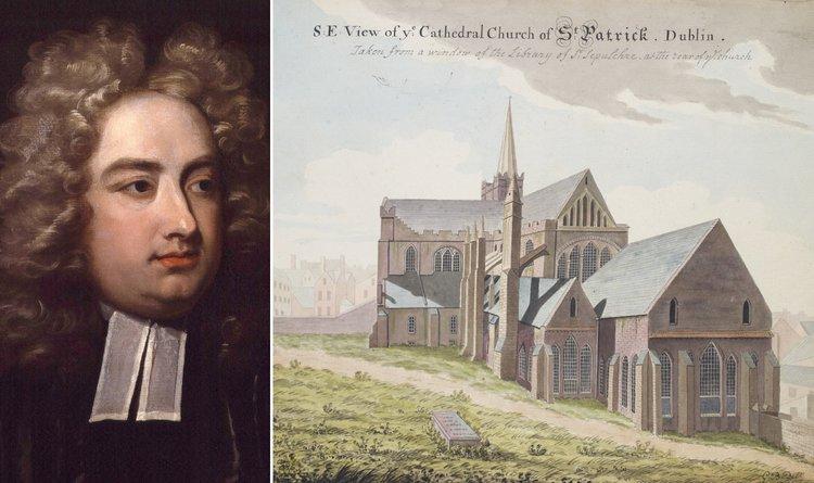 Jonathan Swift, portret de Charles Jervas; Domeniu public | Catedrala St. Patrick din Dublin, Irlanda, unde au fost înmormântați Esther Johnson și Jonathan Swift, pictură de Gabriel Berenger, 1958