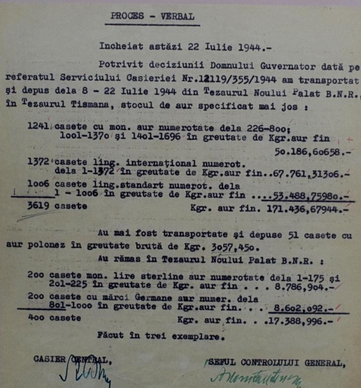 Un proces verbal, imagine luată în Muzeul Tezaurului BNR