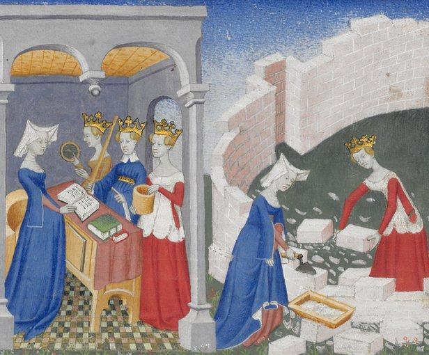 Christine de Pizan, ilustrație din Cartea cetății doamnelor | Sursa: World Digital Library/National Library of France