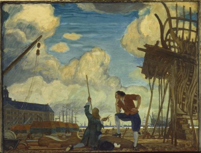 Petru I în Olanda | Pictură de Mstislav Dobuzhinsky, 1910| Sursa: History is now