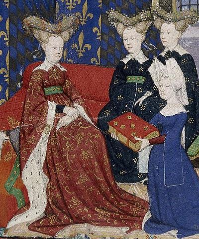 Christine de Pizan îi dăruiește reginei Franței Cartea cetății doamnelor | Sursa: World Digital Library/National Library of France