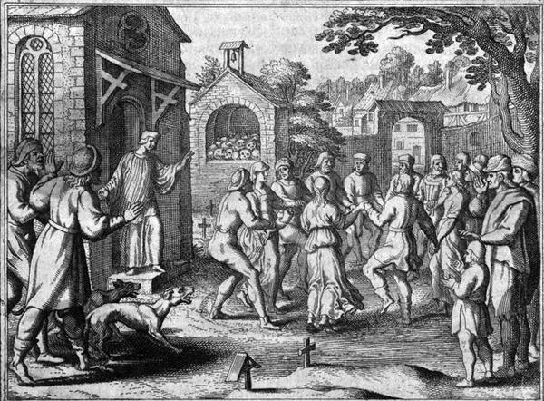 Gravură germană ce ilustrează dans isteric printre morminte, în secolul al XVII-lea | Sursa: Wikipedia, domeniu public