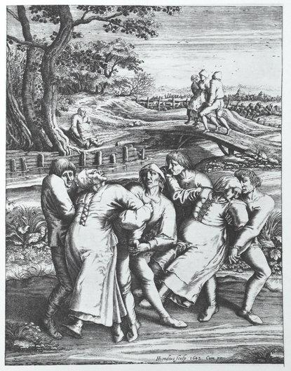 Mania dansului, gravură de Hendrik Hondius ce arată trei femei afectate. Lucrare realizată după un desen de Pieter Brueghel, care se presupune că a fost martorul unui alt focar izbucnit în 1564, în Molenbeek | Sursa: Wikipedia, domeniu public