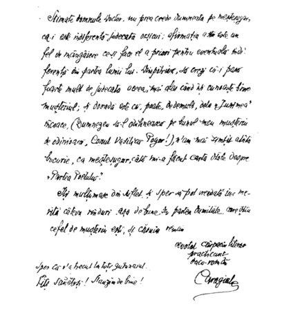 Scrisoare trimisă de I.L.Caragiale   Sursa: Opere – Corespondența, vol. VII, Fundația Regală pentru Literatură și Artă, 1942