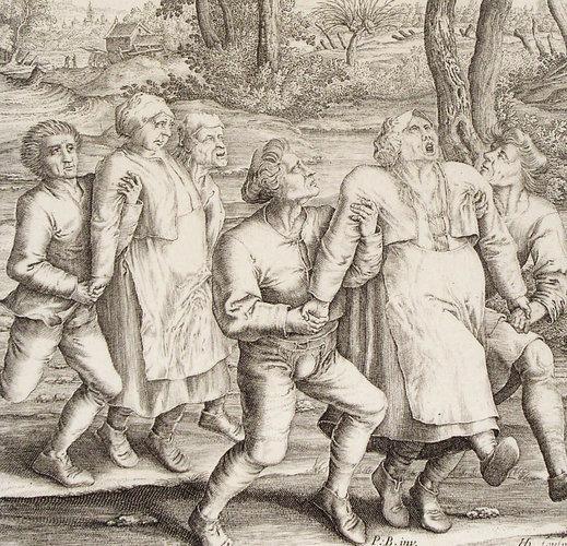 Gravură din 1642 de Hendrik Hondius, după un desen de Peter Breughel ce arată dansul maniac din Molenbeek, din anul 1564 | Sursa: Wikipedia, domeniu public