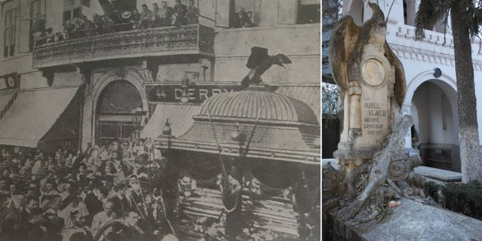 Stânga: La înmormântarea lui Aurel Vlaicu, imagine din presa vremii | Dreapta: Monumentul funerar din cimitirul Bellu militar, sursa: moartea celebrităților