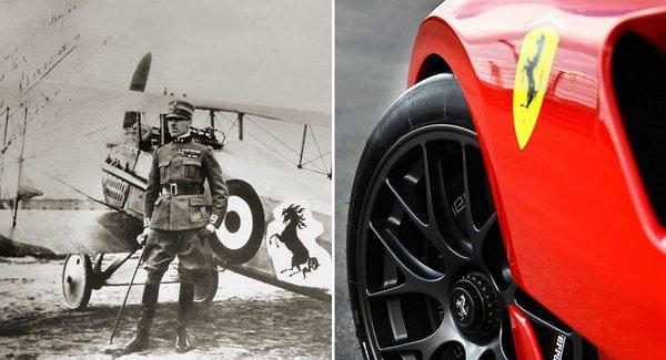 Stânga: Francesco Barraca, în fața avionului său militar pe care este imaginea unui cal negru cabrat, folosit ulterior ca logo la automobilele Ferrari