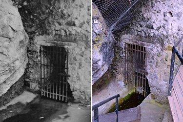 Locul pe unde s-a făcut transportul casetelor de la pivniță în grotă | Imagine de arhivă (stânga); Imaginea de azi – Credit foto: Mira Kaliani