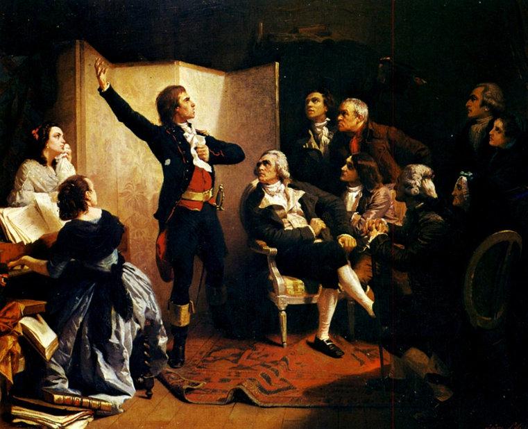 Claude Joseph Rouget de Lisle cântă pentru prima dată ceea ce va fi imnul național al Franței, cunoscut cu numele la Marseillaise; Pictură de Isidore Pils| Sursa: Wikipedia, domeniu public