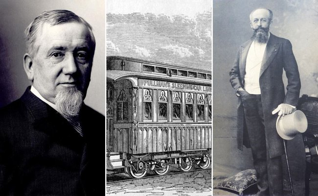 De la stânga: George Pullman, Sursa foto: Alchetron | Vagon de dormit Pullman, Sursa: American Science and Invention | Georges Nagelmackers, Sursa foto: Wikipedia, domeniu public