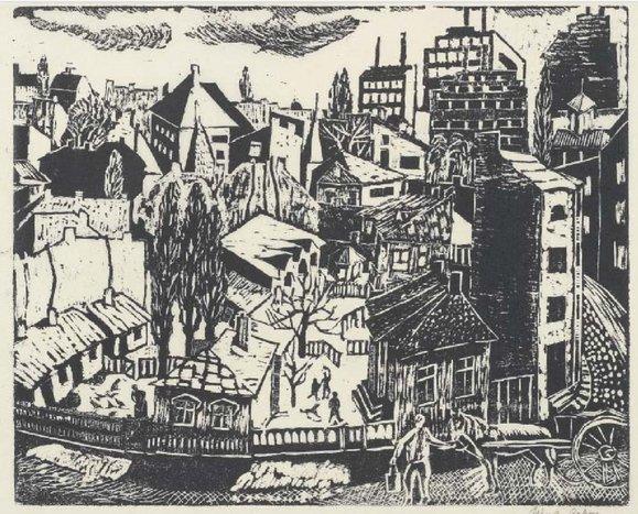 Oraş, 1934, xilogravură | Nina Arbore | Colecţia Bibliotecii Academiei României
