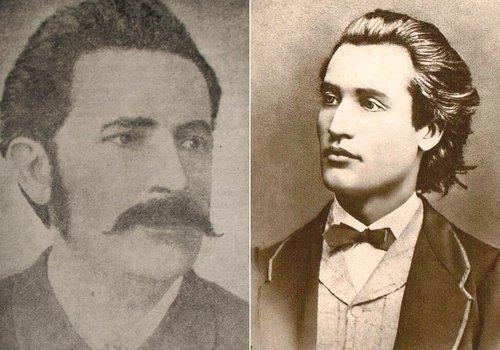 De la stânga: Ioan Slavici; Sursa: Istoria Literaturii Române, G. Călinescu | Mihai Eminescu; Sursa: Wikipedia, domeniu public