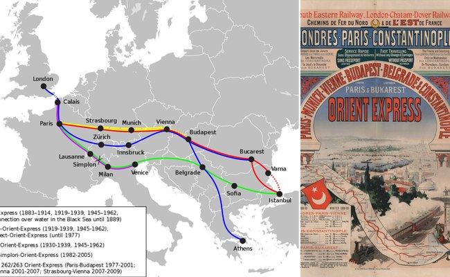 De la stânga: Harta rutelor istorice, Sursa: Wikipedia, domeniu public | Poster de promovare a rutei Orient Express, 1888, Sursa: Wikipedia, domeniu public